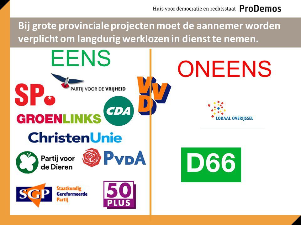 EENS ONEENS Bij grote provinciale projecten moet de aannemer worden verplicht om langdurig werklozen in dienst te nemen.