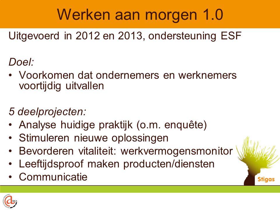 Werken aan morgen 1.0 Uitgevoerd in 2012 en 2013, ondersteuning ESF Doel: Voorkomen dat ondernemers en werknemers voortijdig uitvallen 5 deelprojecten: Analyse huidige praktijk (o.m.