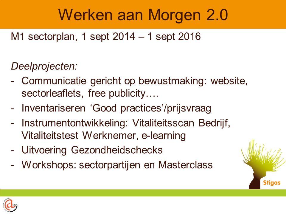 Werken aan Morgen 2.0 M1 sectorplan, 1 sept 2014 – 1 sept 2016 Deelprojecten: -Communicatie gericht op bewustmaking: website, sectorleaflets, free publicity….