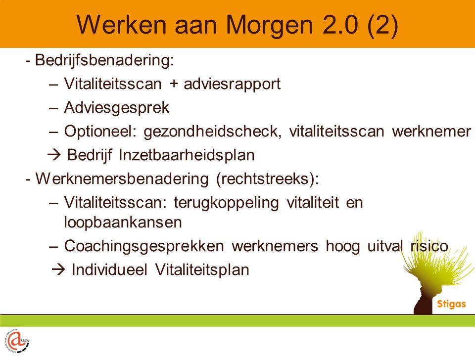 Werken aan Morgen 2.0 (2) - Bedrijfsbenadering: –Vitaliteitsscan + adviesrapport –Adviesgesprek –Optioneel: gezondheidscheck, vitaliteitsscan werkneme