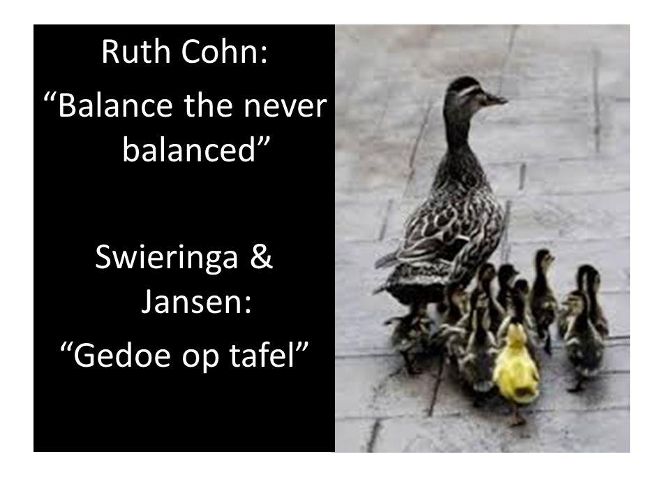Ruth Cohn: Balance the never balanced Swieringa & Jansen: Gedoe op tafel