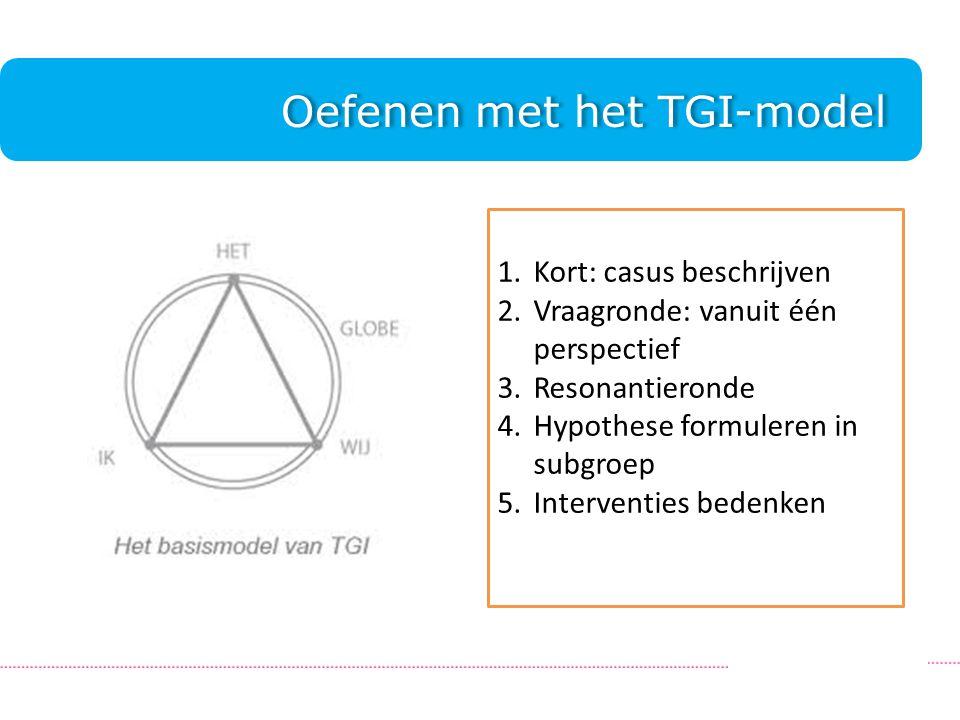 Oefenen met het TGI-model.