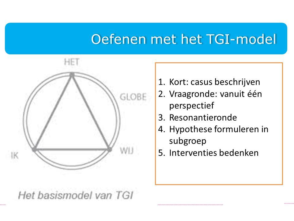 . 1.Kort: casus beschrijven 2.Vraagronde: vanuit één perspectief 3.Resonantieronde 4.Hypothese formuleren in subgroep 5.Interventies bedenken Oefenen met het TGI-model