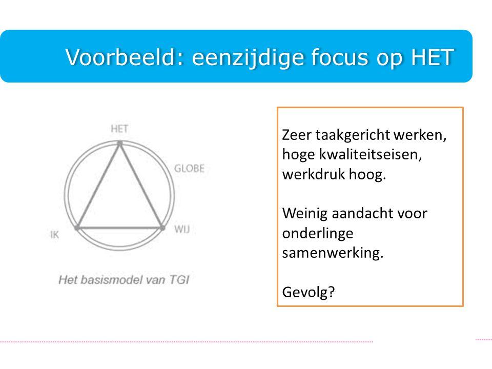 Voorbeeld: eenzijdige focus op HET.Zeer taakgericht werken, hoge kwaliteitseisen, werkdruk hoog.