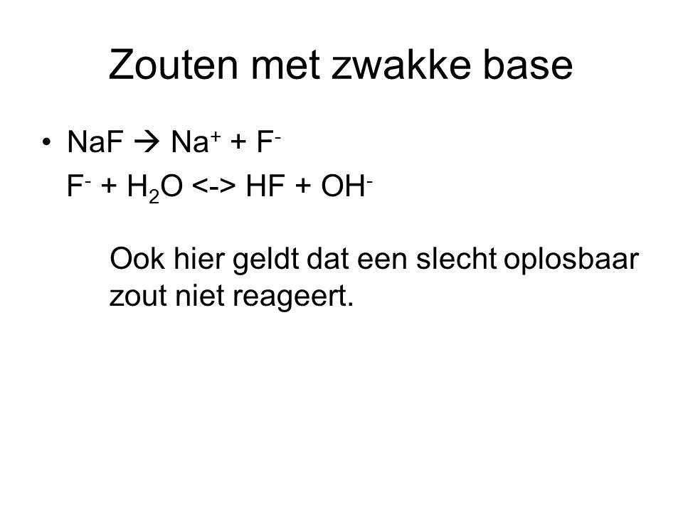 Zouten met zwakke base NaF  Na + + F - F - + H 2 O HF + OH - Ook hier geldt dat een slecht oplosbaar zout niet reageert.