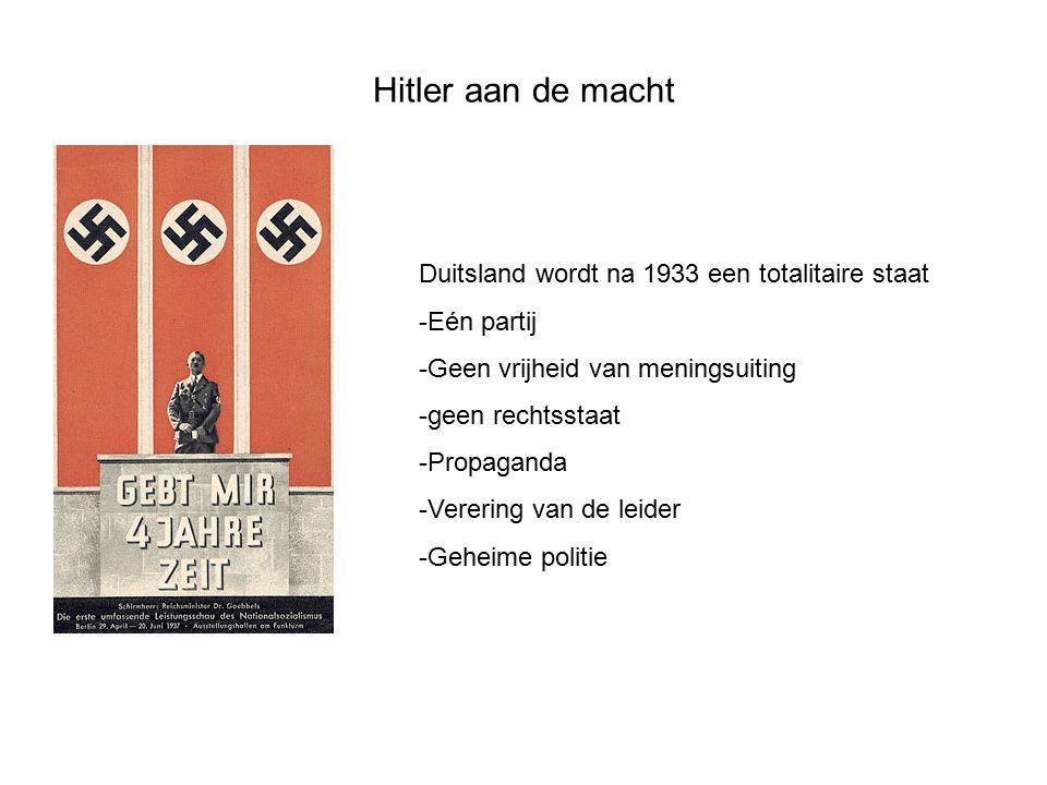 Duitsland wordt na 1933 een totalitaire staat -Eén partij -Geen vrijheid van meningsuiting -geen rechtsstaat -Propaganda -Verering van de leider -Gehe