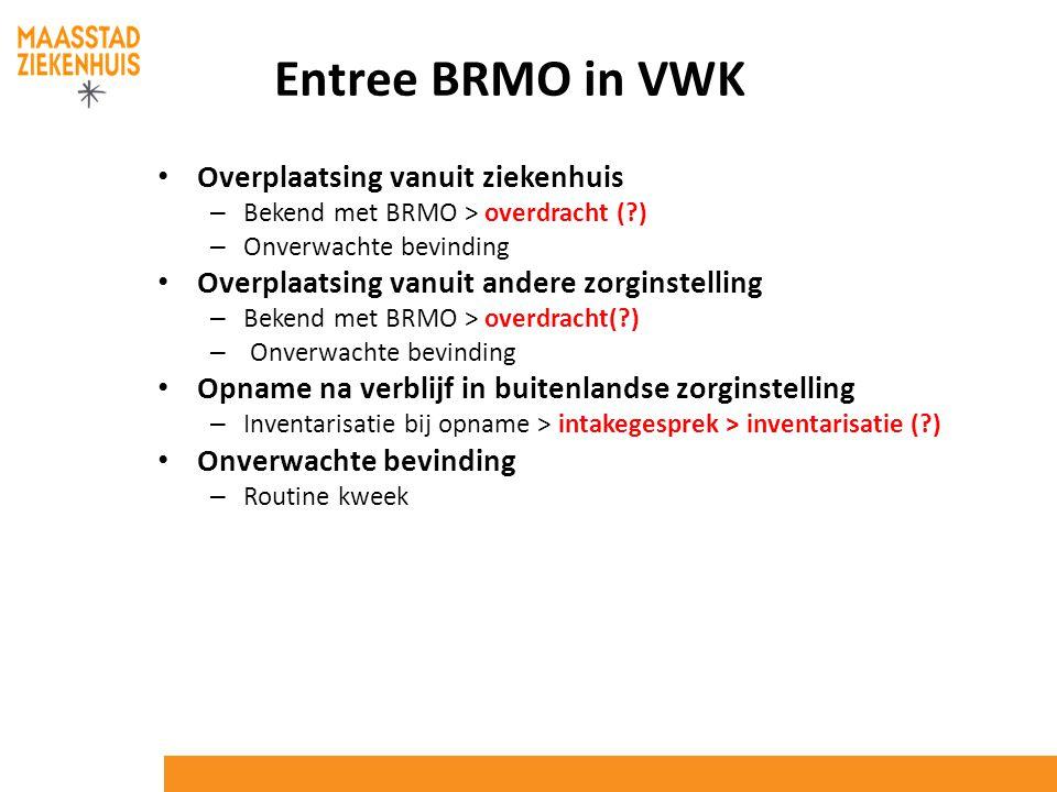 Entree BRMO in VWK Overplaatsing vanuit ziekenhuis – Bekend met BRMO > overdracht (?) – Onverwachte bevinding Overplaatsing vanuit andere zorginstelli