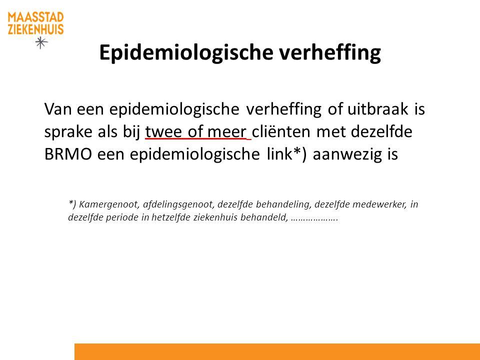 Epidemiologische verheffing Van een epidemiologische verheffing of uitbraak is sprake als bij twee of meer cliënten met dezelfde BRMO een epidemiologi