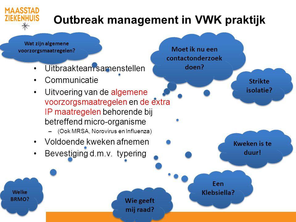 Outbreak management in VWK praktijk Uitbraakteam samenstellen Communicatie Uitvoering van de algemene voorzorgsmaatregelen en de extra IP maatregelen
