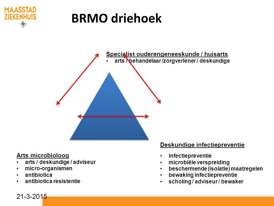 21-3-2015 BRMO driehoek Arts microbioloog arts / deskundige / adviseur micro-organismen antibiotica antibiotica resistentie Deskundige infectieprevent