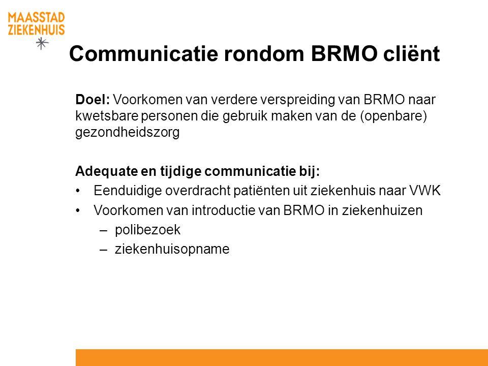 Communicatie rondom BRMO cliënt Doel: Voorkomen van verdere verspreiding van BRMO naar kwetsbare personen die gebruik maken van de (openbare) gezondhe