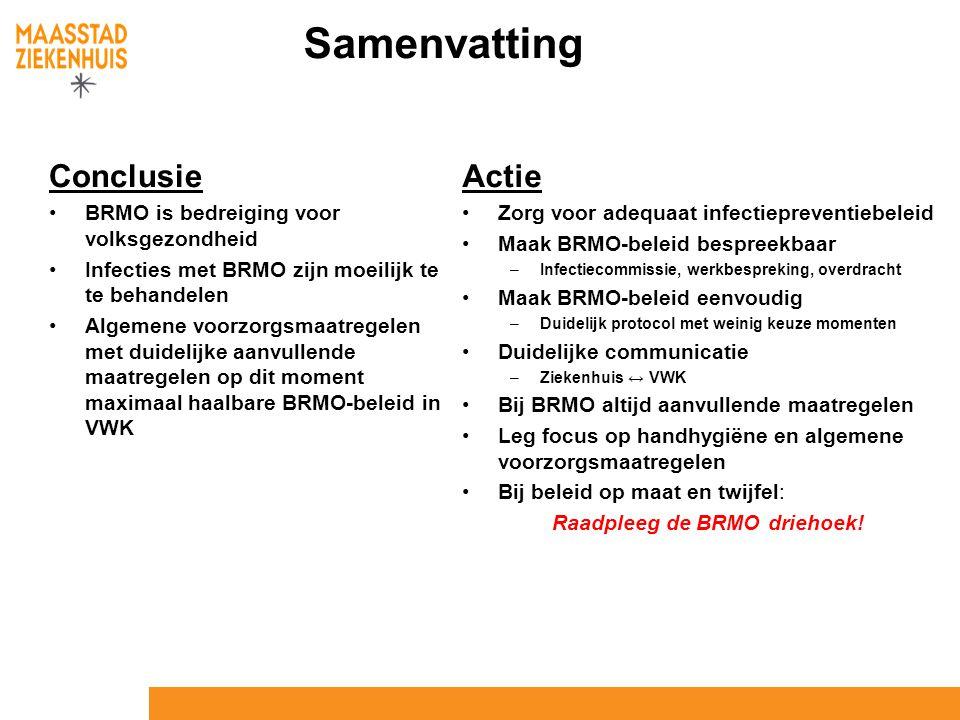 Samenvatting Conclusie BRMO is bedreiging voor volksgezondheid Infecties met BRMO zijn moeilijk te te behandelen Algemene voorzorgsmaatregelen met dui