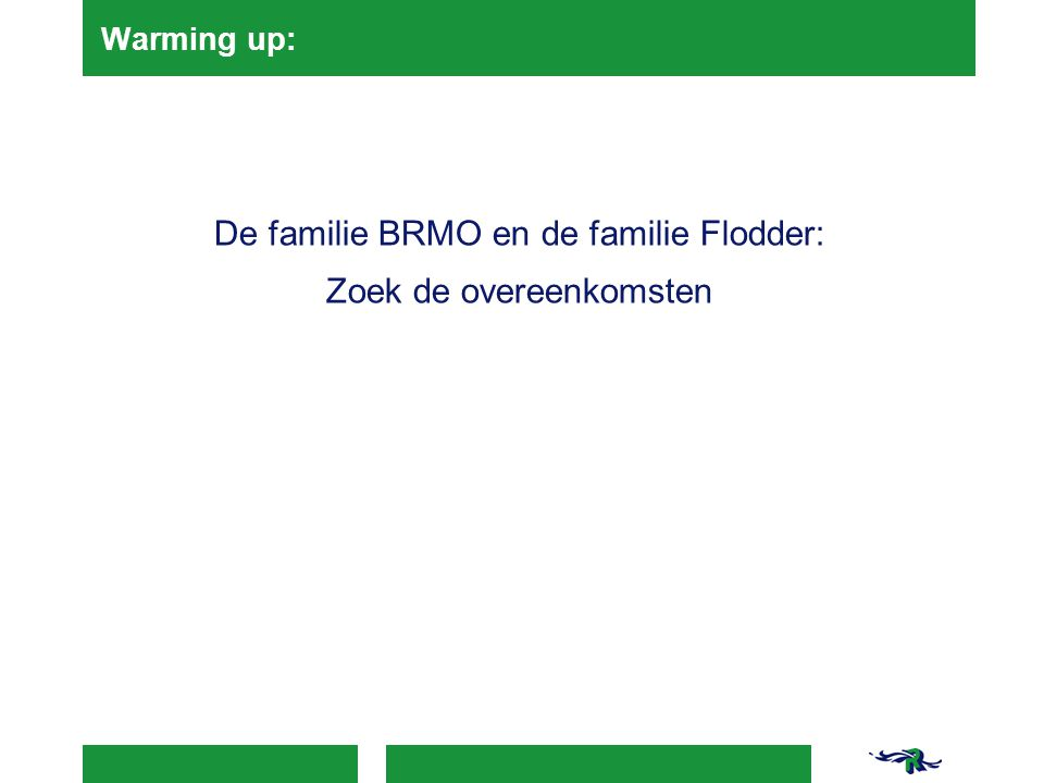 Warming up: De familie BRMO en de familie Flodder: Zoek de overeenkomsten