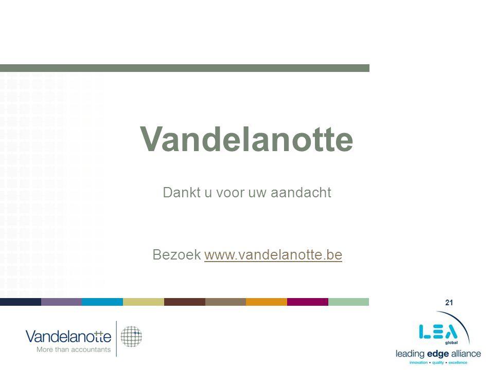 21 Vandelanotte Dankt u voor uw aandacht Bezoek www.vandelanotte.bewww.vandelanotte.be