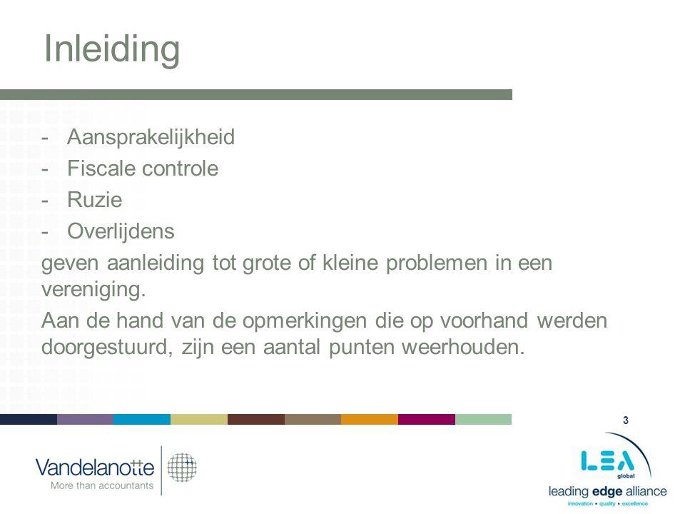 3 Inleiding -Aansprakelijkheid -Fiscale controle -Ruzie -Overlijdens geven aanleiding tot grote of kleine problemen in een vereniging.