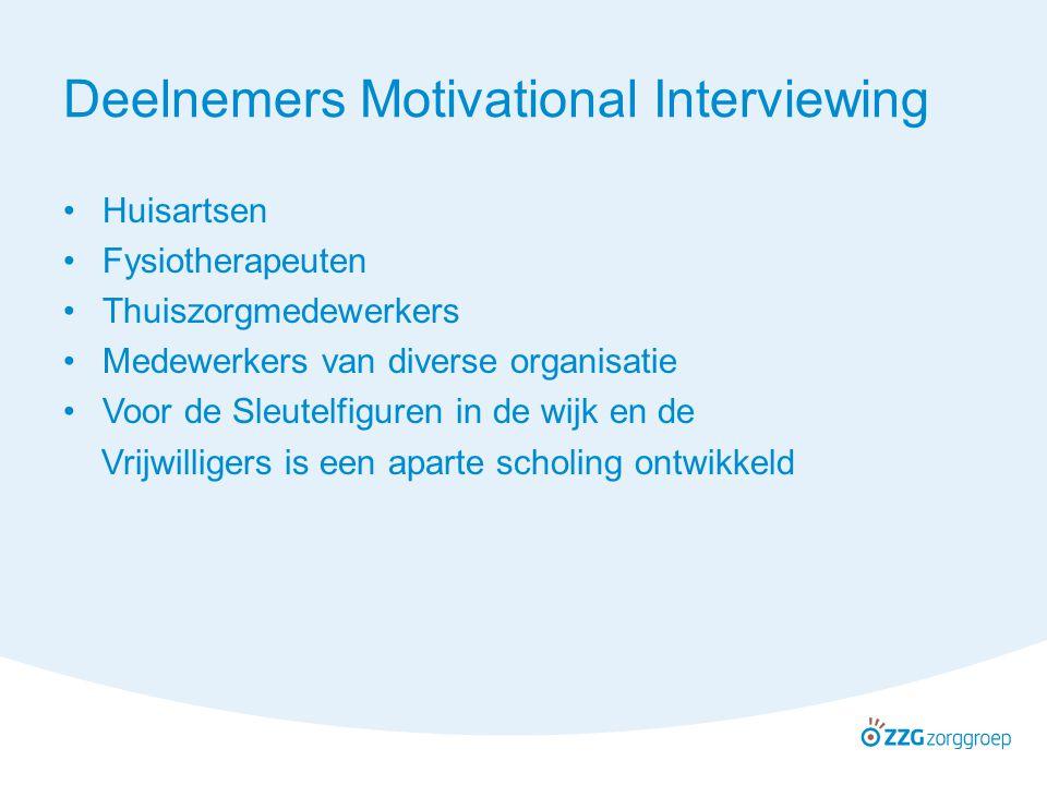 Deelnemers Motivational Interviewing Huisartsen Fysiotherapeuten Thuiszorgmedewerkers Medewerkers van diverse organisatie Voor de Sleutelfiguren in de