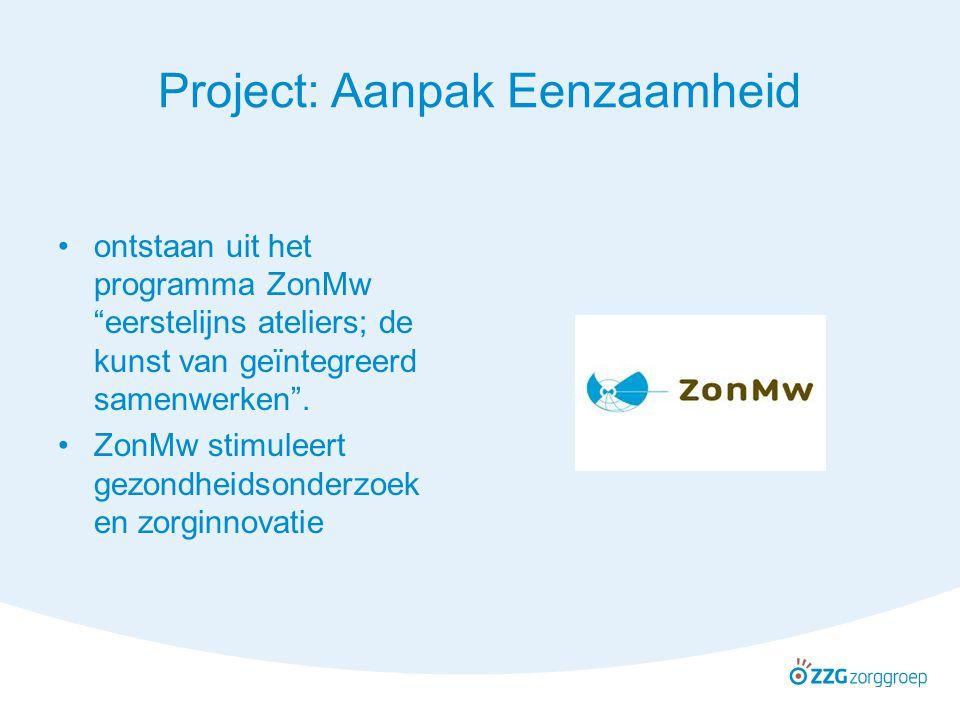 """Project: Aanpak Eenzaamheid ontstaan uit het programma ZonMw """"eerstelijns ateliers; de kunst van geïntegreerd samenwerken"""". ZonMw stimuleert gezondhei"""