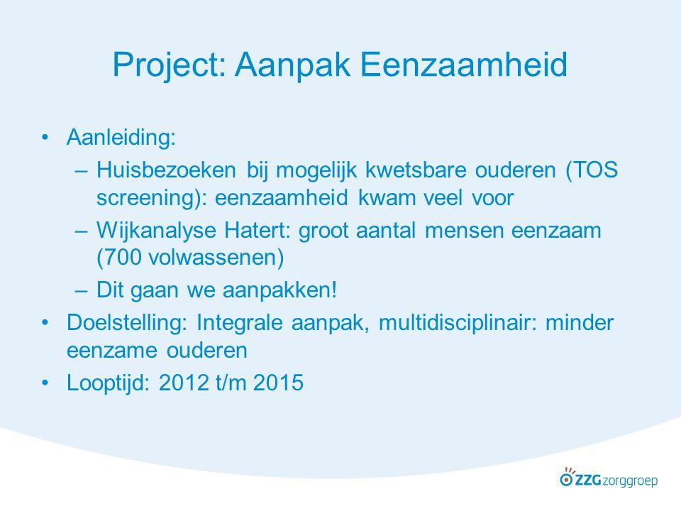 Overgangsfase Sociale wijkteam is aanzet Project wordt breder niet alleen de 70+ in Hatert neemt deel aan het project.