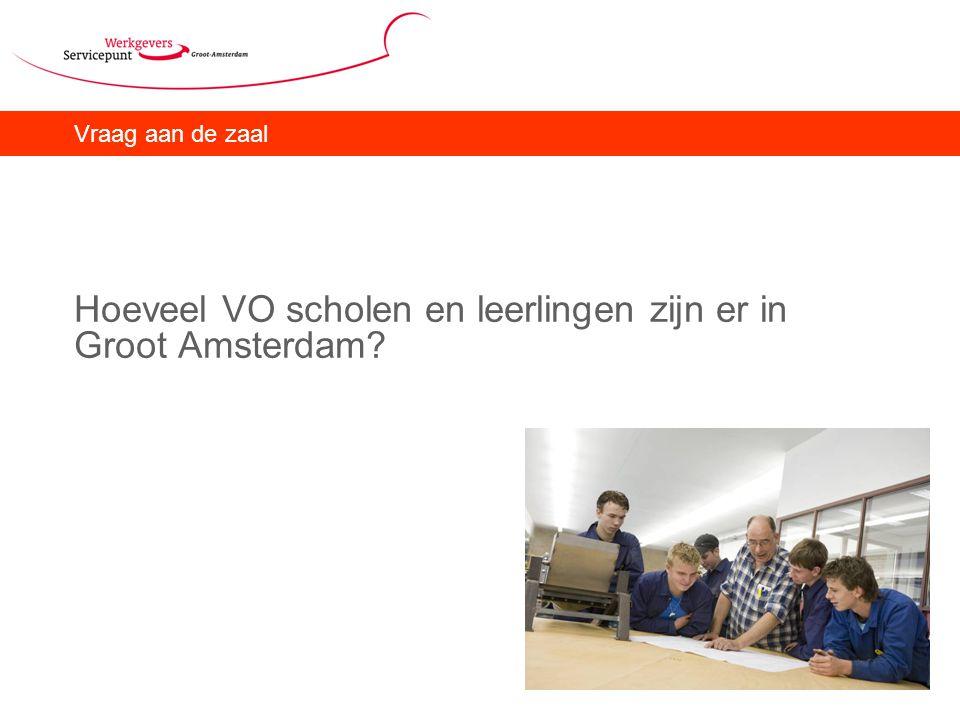 Vraag aan de zaal Hoeveel VO scholen en leerlingen zijn er in Groot Amsterdam