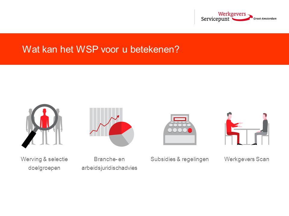 Werving & selectie doelgroepen Branche- en arbeidsjuridischadvies Subsidies & regelingenWerkgevers Scan Wat kan het WSP voor u betekenen