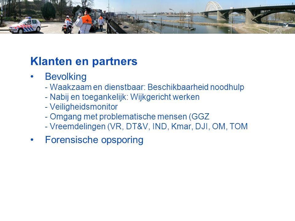 Klanten en partners Bevolking - Waakzaam en dienstbaar: Beschikbaarheid noodhulp - Nabij en toegankelijk: Wijkgericht werken - Veiligheidsmonitor - Om