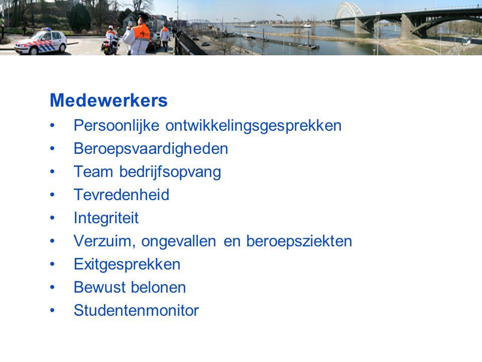 Medewerkers Persoonlijke ontwikkelingsgesprekken Beroepsvaardigheden Team bedrijfsopvang Tevredenheid Integriteit Verzuim, ongevallen en beroepsziekte
