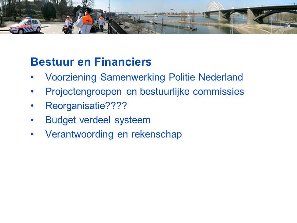 Bestuur en Financiers Voorziening Samenwerking Politie Nederland Projectengroepen en bestuurlijke commissies Reorganisatie???? Budget verdeel systeem