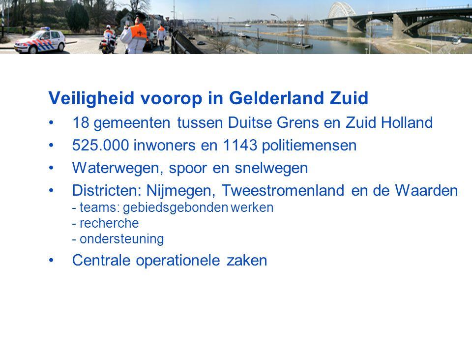 Veiligheid voorop in Gelderland Zuid 18 gemeenten tussen Duitse Grens en Zuid Holland 525.000 inwoners en 1143 politiemensen Waterwegen, spoor en snel