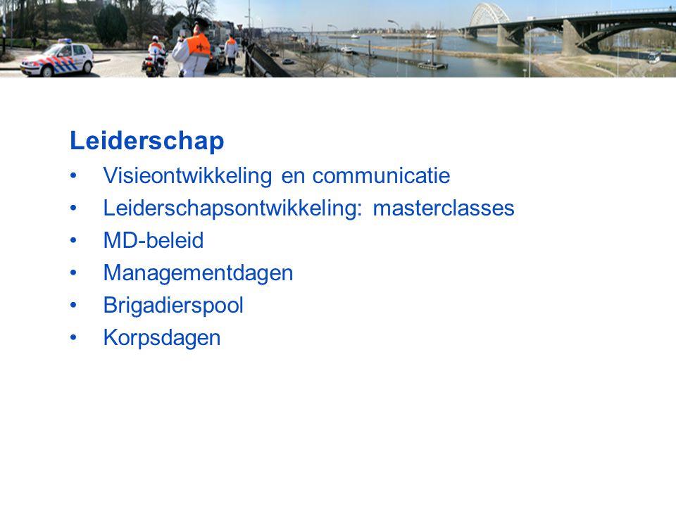 Leiderschap Visieontwikkeling en communicatie Leiderschapsontwikkeling: masterclasses MD-beleid Managementdagen Brigadierspool Korpsdagen