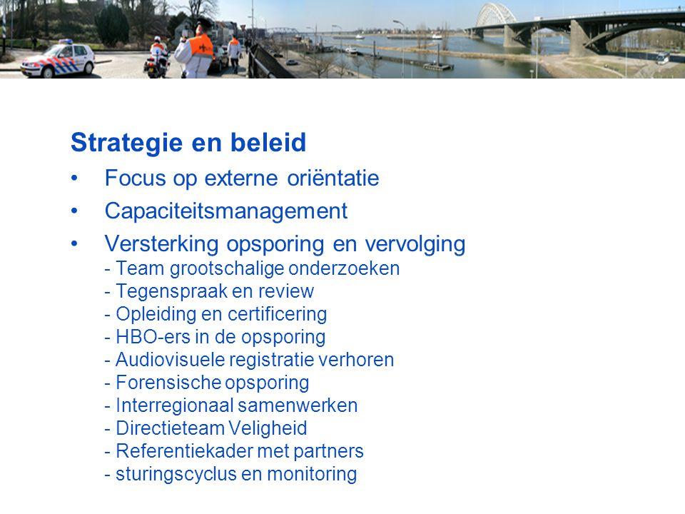 Strategie en beleid Focus op externe oriëntatie Capaciteitsmanagement Versterking opsporing en vervolging - Team grootschalige onderzoeken - Tegenspra