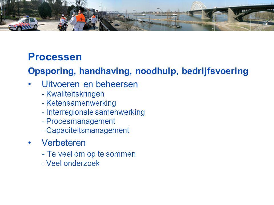 Processen Opsporing, handhaving, noodhulp, bedrijfsvoering Uitvoeren en beheersen - Kwaliteitskringen - Ketensamenwerking - Interregionale samenwerkin