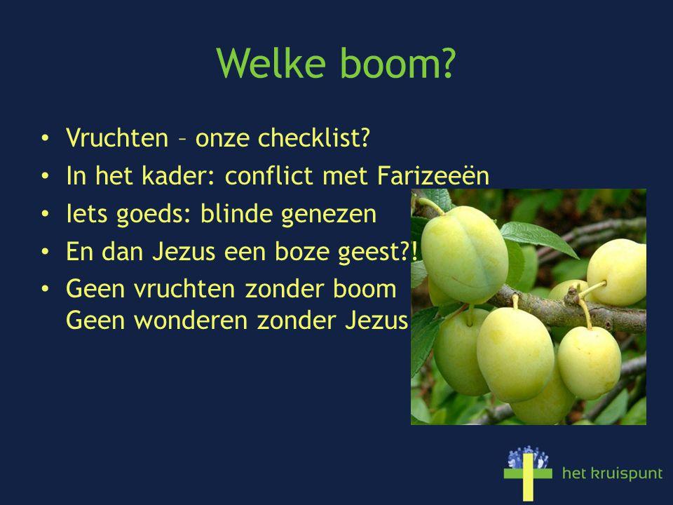 Welke boom? Vruchten – onze checklist? In het kader: conflict met Farizeeën Iets goeds: blinde genezen En dan Jezus een boze geest?! Geen vruchten zon