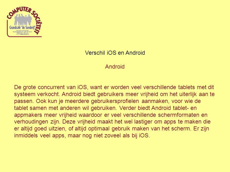 Verschil iOS en Android Android De grote concurrent van iOS, want er worden veel verschillende tablets met dit systeem verkocht. Android biedt gebruik