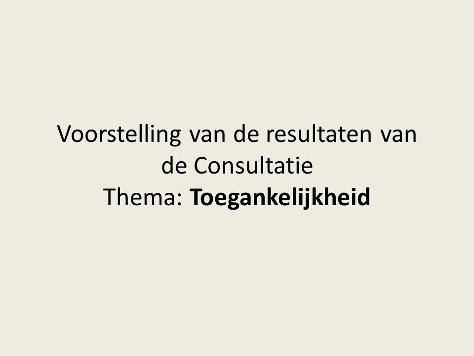 Voorstelling van de resultaten van de Consultatie Thema: Toegankelijkheid