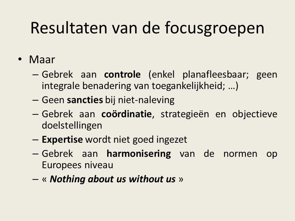 Resultaten van de focusgroepen Maar – Gebrek aan controle (enkel planafleesbaar; geen integrale benadering van toegankelijkheid; …) – Geen sancties bi