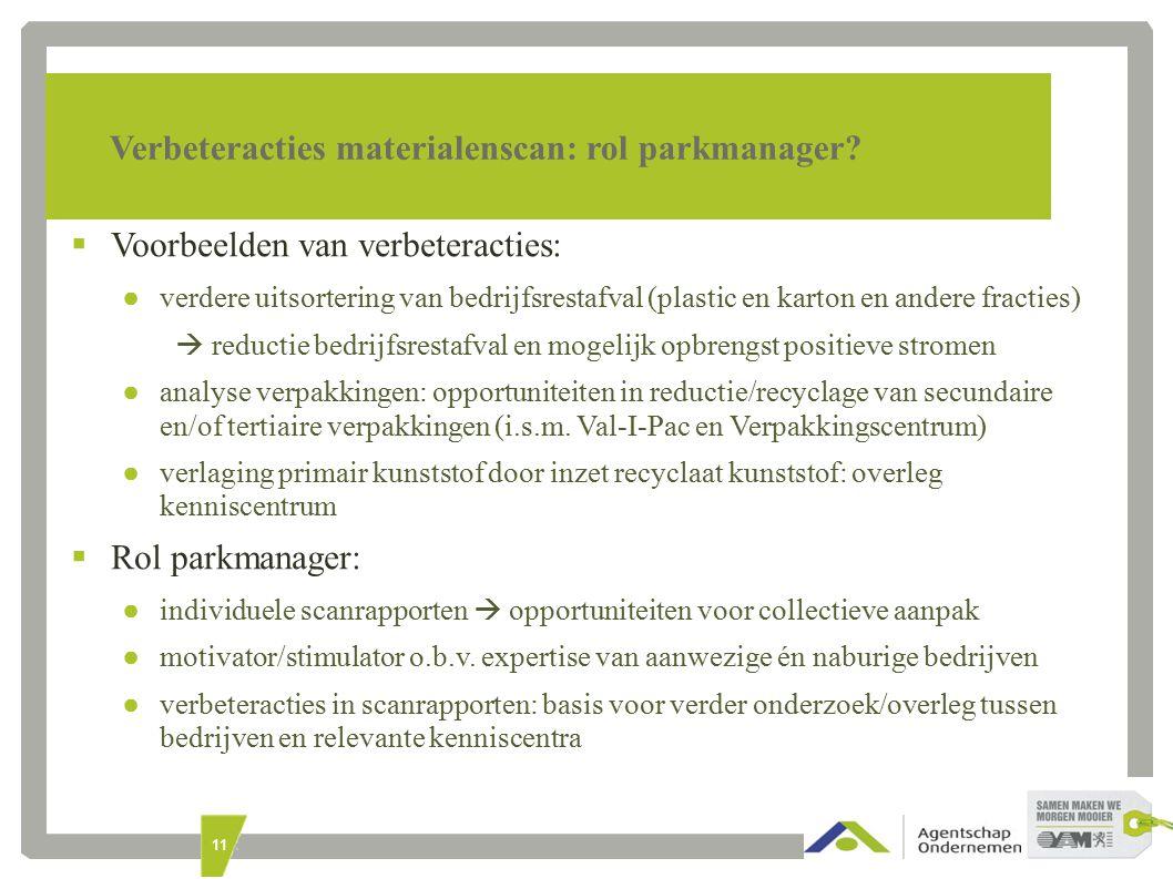11 Verbeteracties materialenscan: rol parkmanager.