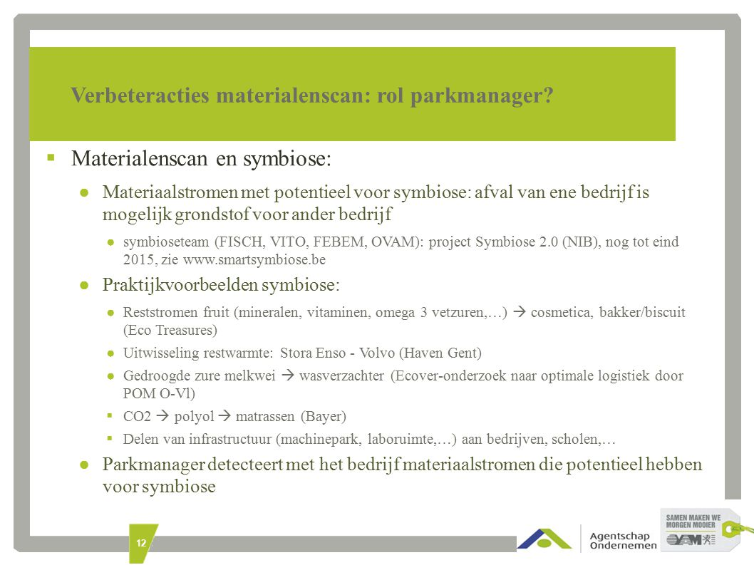 12 Verbeteracties materialenscan: rol parkmanager.