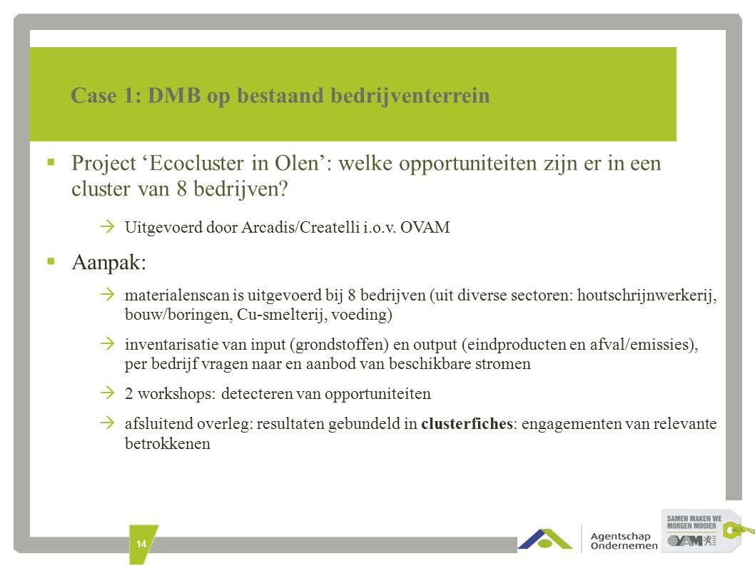 14 Case 1: DMB op bestaand bedrijventerrein  Project 'Ecocluster in Olen': welke opportuniteiten zijn er in een cluster van 8 bedrijven.