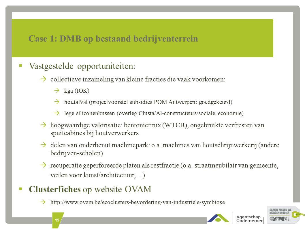 15 Case 1: DMB op bestaand bedrijventerrein  Vastgestelde opportuniteiten:  collectieve inzameling van kleine fracties die vaak voorkomen:  kga (IOK)  houtafval (projectvoorstel subsidies POM Antwerpen: goedgekeurd)  lege siliconenbussen (overleg Clusta/Al-constructeurs/sociale economie)  hoogwaardige valorisatie: bentonietmix (WTCB), ongebruikte verfresten van spuitcabines bij houtverwerkers bij spuitcabines bij houtverwerkers  delen van onderbenut machinepark: o.a.