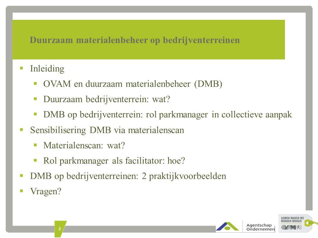 2 Duurzaam materialenbeheer op bedrijventerreinen  Inleiding  OVAM en duurzaam materialenbeheer (DMB)  Duurzaam bedrijventerrein: wat.