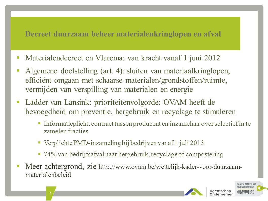 3 Decreet duurzaam beheer materialenkringlopen en afval  Materialendecreet en Vlarema: van kracht vanaf 1 juni 2012  Algemene doelstelling (art.