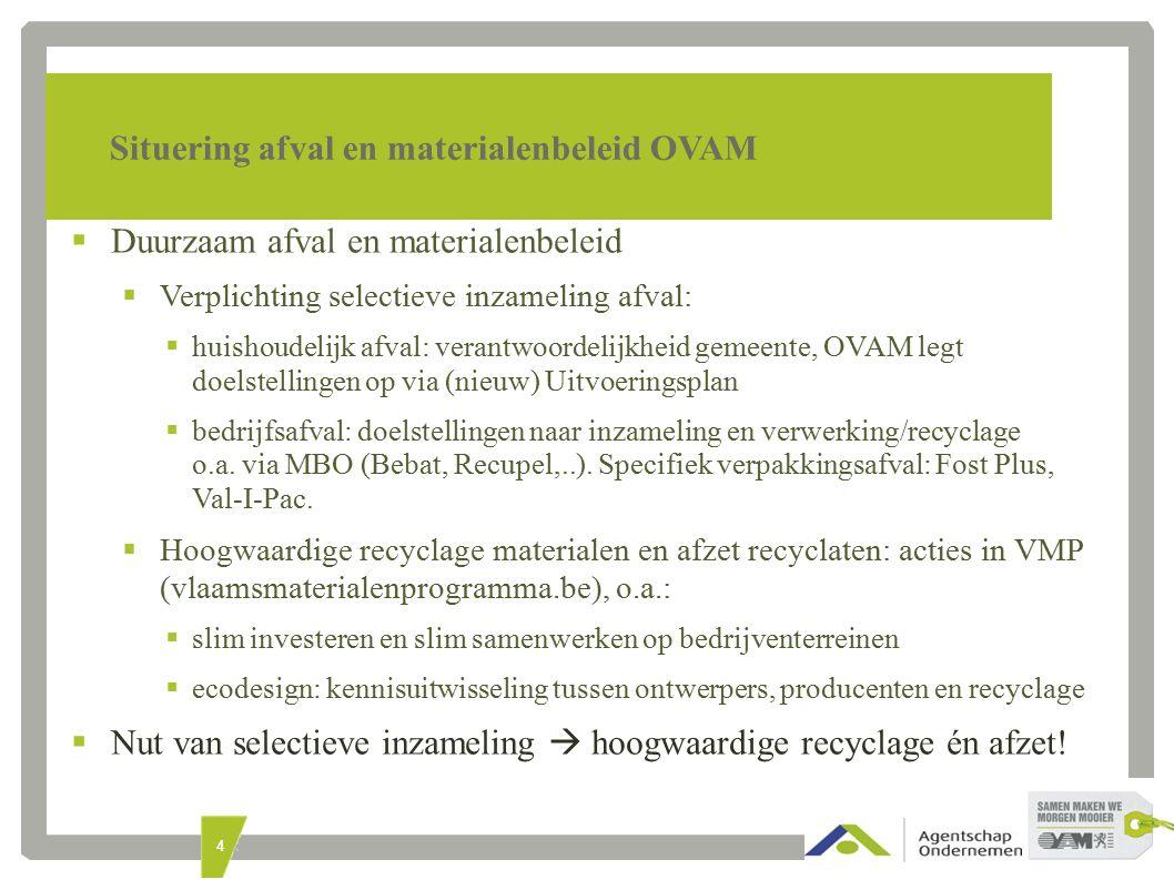 4 Situering afval en materialenbeleid OVAM  Duurzaam afval en materialenbeleid  Verplichting selectieve inzameling afval:  huishoudelijk afval: verantwoordelijkheid gemeente, OVAM legt doelstellingen op via (nieuw) Uitvoeringsplan  bedrijfsafval: doelstellingen naar inzameling en verwerking/recyclage o.a.