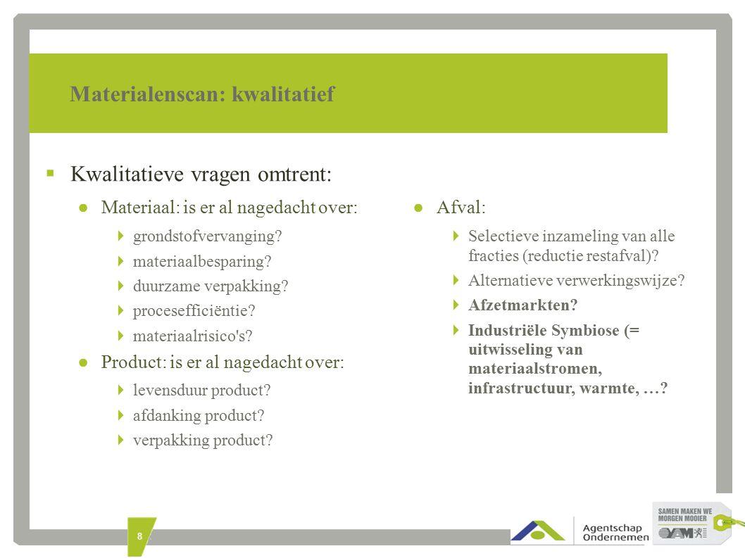 8 Materialenscan: kwalitatief  Kwalitatieve vragen omtrent: ● Materiaal: is er al nagedacht over:  grondstofvervanging.