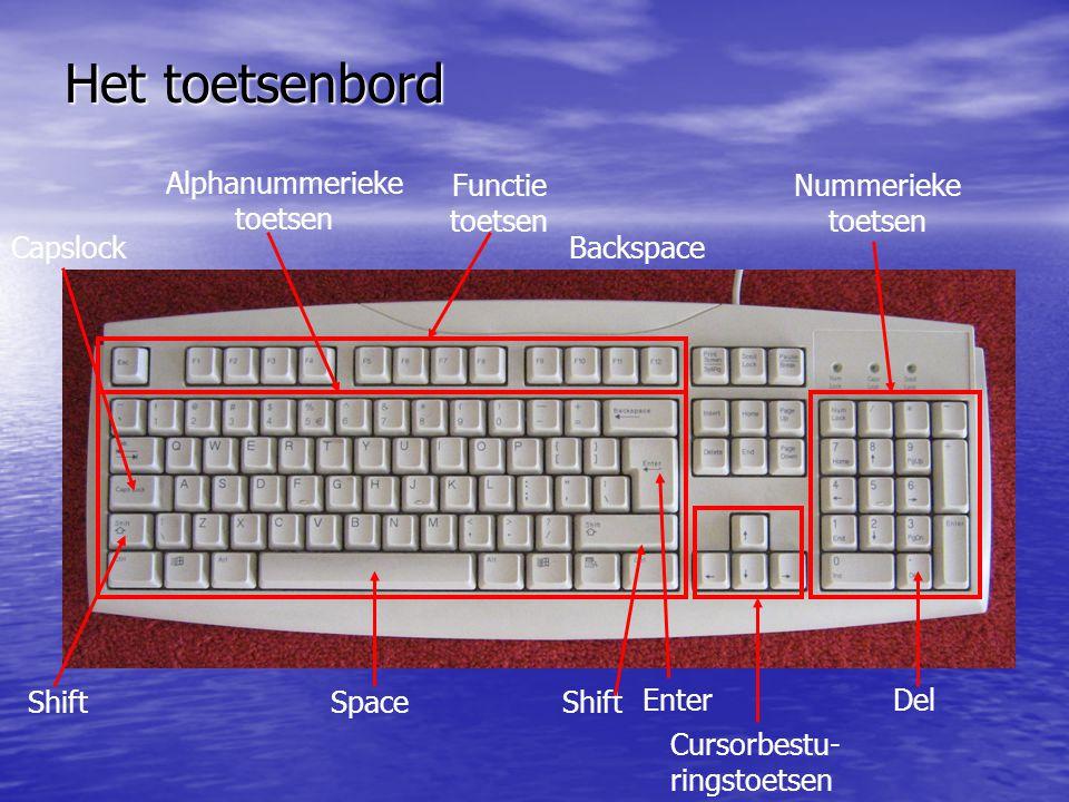 Het toetsenbord Capslock Shift Backspace Space Alphanummerieke toetsen Functie toetsen Nummerieke toetsen Enter Cursorbestu- ringstoetsen Del