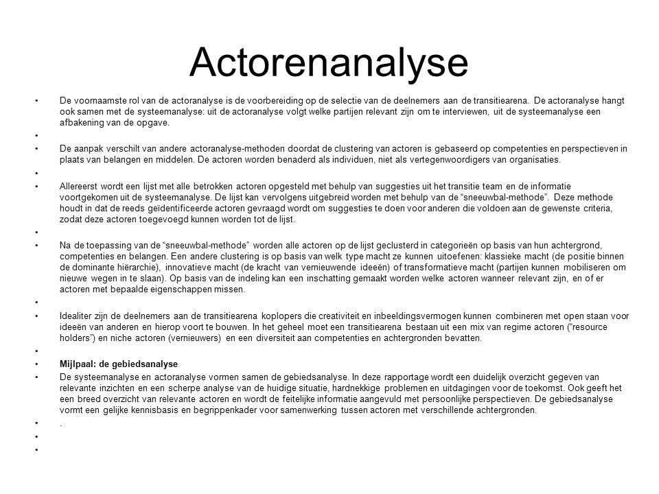 Actorenanalyse De voornaamste rol van de actoranalyse is de voorbereiding op de selectie van de deelnemers aan de transitiearena.