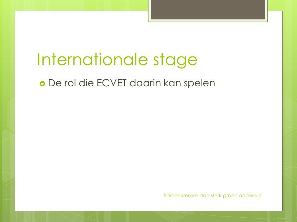 Internationale stage  De rol die ECVET daarin kan spelen Samenwerken aan sterk groen onderwijs