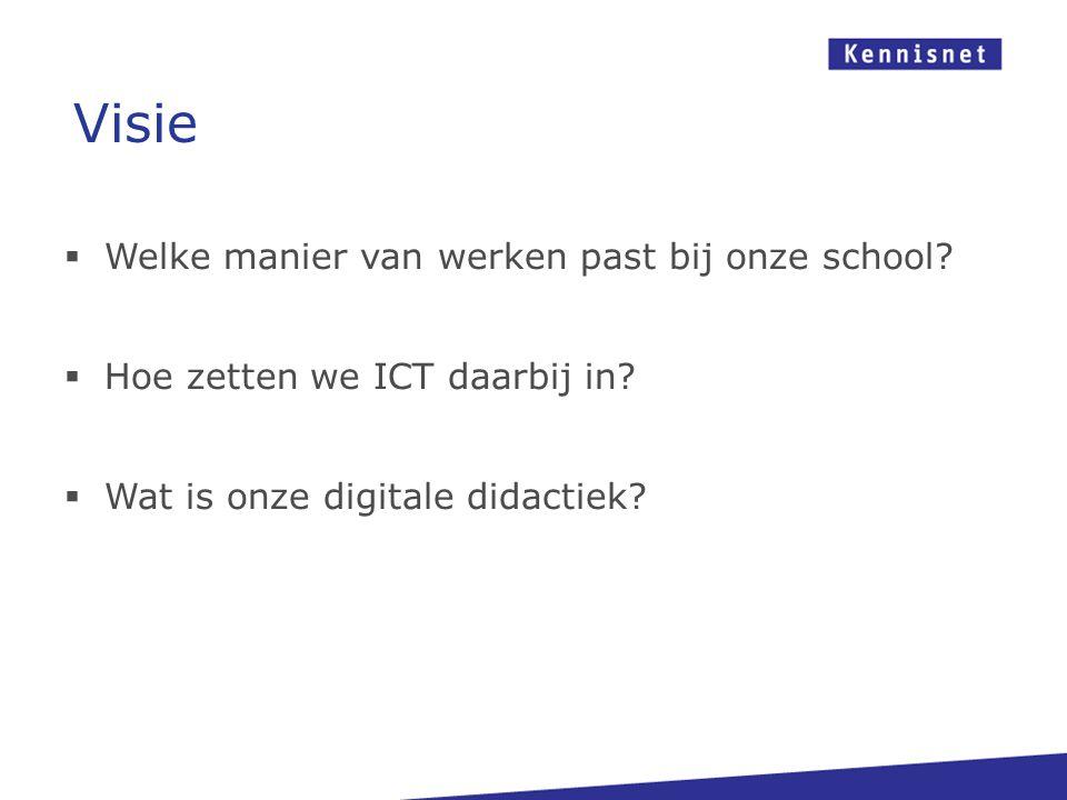 Welke manier van werken past bij onze school?  Hoe zetten we ICT daarbij in?  Wat is onze digitale didactiek? Visie
