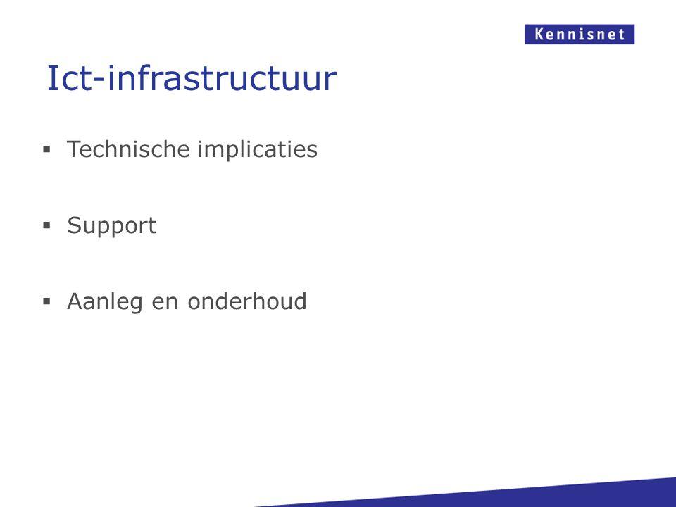  Technische implicaties  Support  Aanleg en onderhoud Ict-infrastructuur