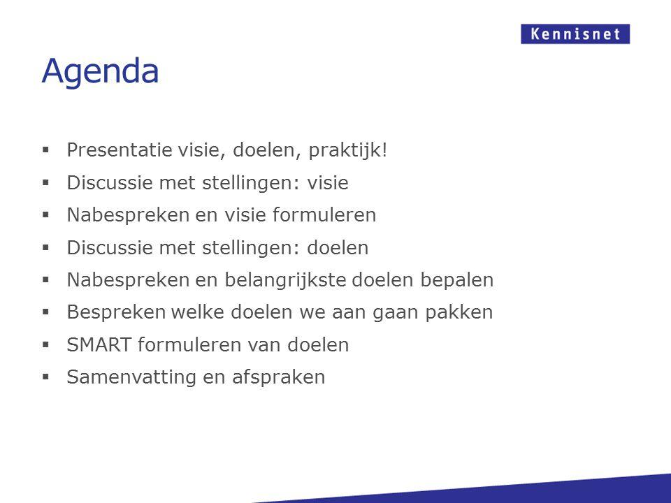 Agenda  Presentatie visie, doelen, praktijk!  Discussie met stellingen: visie  Nabespreken en visie formuleren  Discussie met stellingen: doelen 