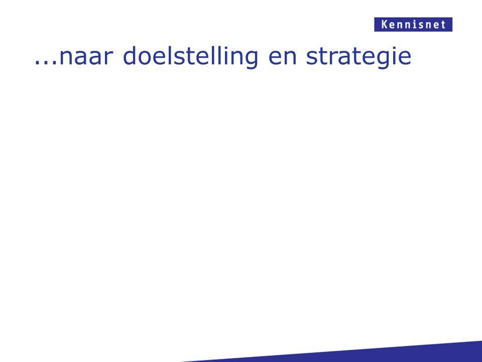 ...naar doelstelling en strategie